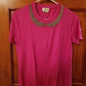 Kate Spade jeweled neck peter pan collar pink